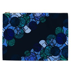 Blue Bubbles Cosmetic Bag (xxl)  by Valentinaart