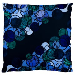 Blue Bubbles Large Flano Cushion Case (two Sides) by Valentinaart