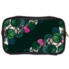 Green And Pink Bubbles Toiletries Bags 2 Side by Valentinaart