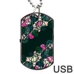 Green And Pink Bubbles Dog Tag Usb Flash (two Sides)
