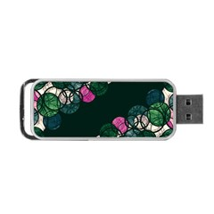 Green And Pink Bubbles Portable Usb Flash (one Side)