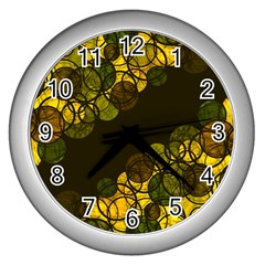 Yellow Bubbles Wall Clocks (silver)  by Valentinaart