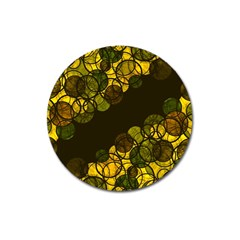 Yellow Bubbles Magnet 3  (round) by Valentinaart