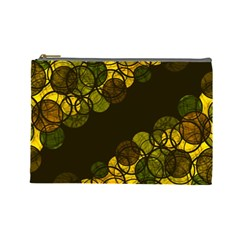 Yellow Bubbles Cosmetic Bag (large)  by Valentinaart