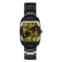Yellow Bubbles Stainless Steel Barrel Watch by Valentinaart