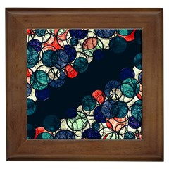 Orange And Blue Bubbles Framed Tiles by Valentinaart