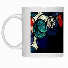Orange And Blue Bubbles White Mugs by Valentinaart