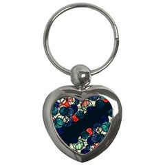 Orange And Blue Bubbles Key Chains (heart)  by Valentinaart