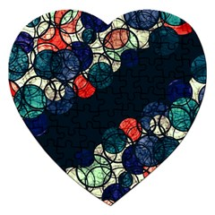 Orange And Blue Bubbles Jigsaw Puzzle (heart) by Valentinaart
