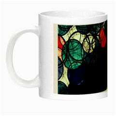 Orange And Blue Bubbles Night Luminous Mugs by Valentinaart