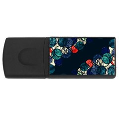 Orange And Blue Bubbles Usb Flash Drive Rectangular (4 Gb)  by Valentinaart