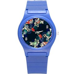 Orange And Blue Bubbles Round Plastic Sport Watch (s)