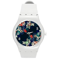 Orange And Blue Bubbles Round Plastic Sport Watch (m) by Valentinaart