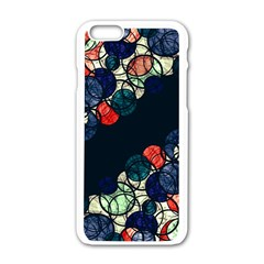 Orange And Blue Bubbles Apple Iphone 6/6s White Enamel Case by Valentinaart