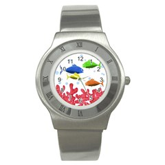 Corals And Fish Stainless Steel Watch by Valentinaart