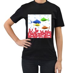 Corals And Fish Women s T Shirt (black)