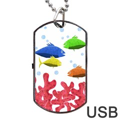 Corals And Fish Dog Tag Usb Flash (two Sides)