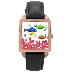 Corals And Fish Rose Gold Leather Watch  by Valentinaart