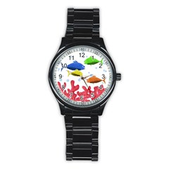 Corals And Fish Stainless Steel Round Watch by Valentinaart