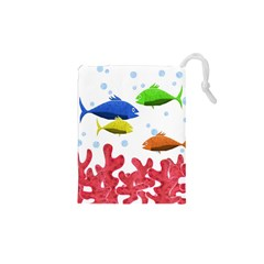 Corals And Fish Drawstring Pouches (xs)  by Valentinaart