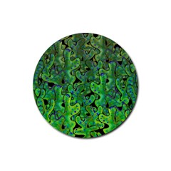 Green Corals Rubber Coaster (round)  by Valentinaart