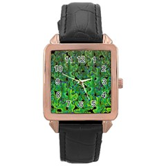 Green Corals Rose Gold Leather Watch