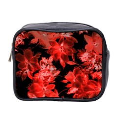 Red Flower  Mini Toiletries Bag 2 Side by Brittlevirginclothing