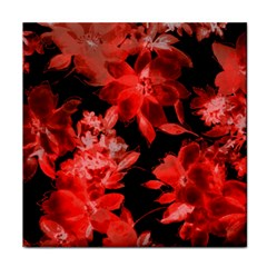 Red Flower  Tile Coasters by Brittlevirginclothing