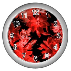 Red Flower  Wall Clocks (silver)  by Brittlevirginclothing