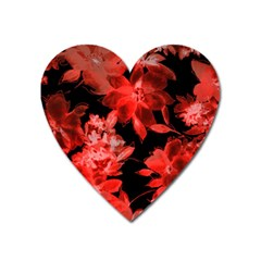 Red Flower  Heart Magnet by Brittlevirginclothing