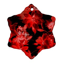 Red Flower  Ornament (snowflake)  by Brittlevirginclothing