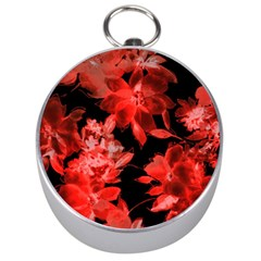 Red Flower  Silver Compasses by Brittlevirginclothing