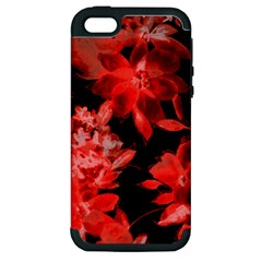 Red Flower  Apple Iphone 5 Hardshell Case (pc+silicone) by Brittlevirginclothing
