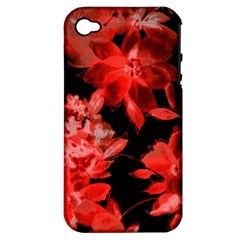 Red Flower  Apple Iphone 4/4s Hardshell Case (pc+silicone) by Brittlevirginclothing