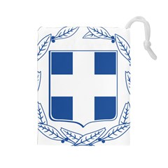 Coat Of Arms Of Greece Drawstring Pouches (large)  by abbeyz71