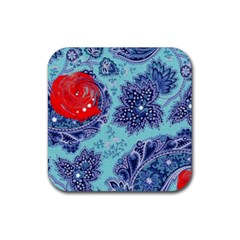 Red Pearled Roses  Rubber Coaster (square)  by Brittlevirginclothing