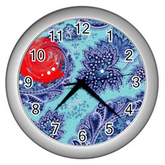 Red Pearled Roses  Wall Clocks (silver)  by Brittlevirginclothing