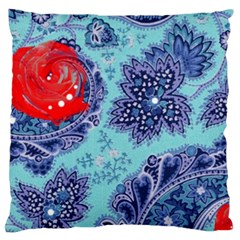 Red Pearled Roses  Large Cushion Case (one Side) by Brittlevirginclothing