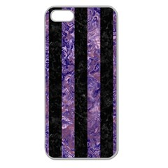 Stripes1 Black Marble & Purple Marble Apple Seamless Iphone 5 Case (clear) by trendistuff