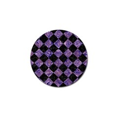 Square2 Black Marble & Purple Marble Golf Ball Marker by trendistuff