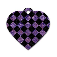 Square2 Black Marble & Purple Marble Dog Tag Heart (one Side)