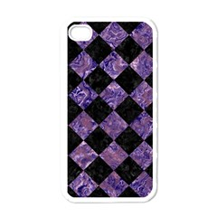 Square2 Black Marble & Purple Marble Apple Iphone 4 Case (white) by trendistuff