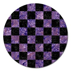Square1 Black Marble & Purple Marble Magnet 5  (round) by trendistuff