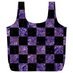 Square1 Black Marble & Purple Marble Full Print Recycle Bag (xl) by trendistuff