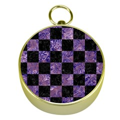 Square1 Black Marble & Purple Marble Gold Compass by trendistuff