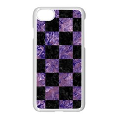 Square1 Black Marble & Purple Marble Apple Iphone 7 Seamless Case (white)