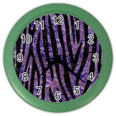 Skin4 Black Marble & Purple Marble Color Wall Clock by trendistuff