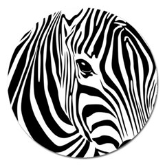 Animal Cute Pattern Art Zebra Magnet 5  (round)