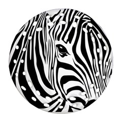 Animal Cute Pattern Art Zebra Ornament (round Filigree)