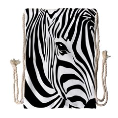 Animal Cute Pattern Art Zebra Drawstring Bag (large)